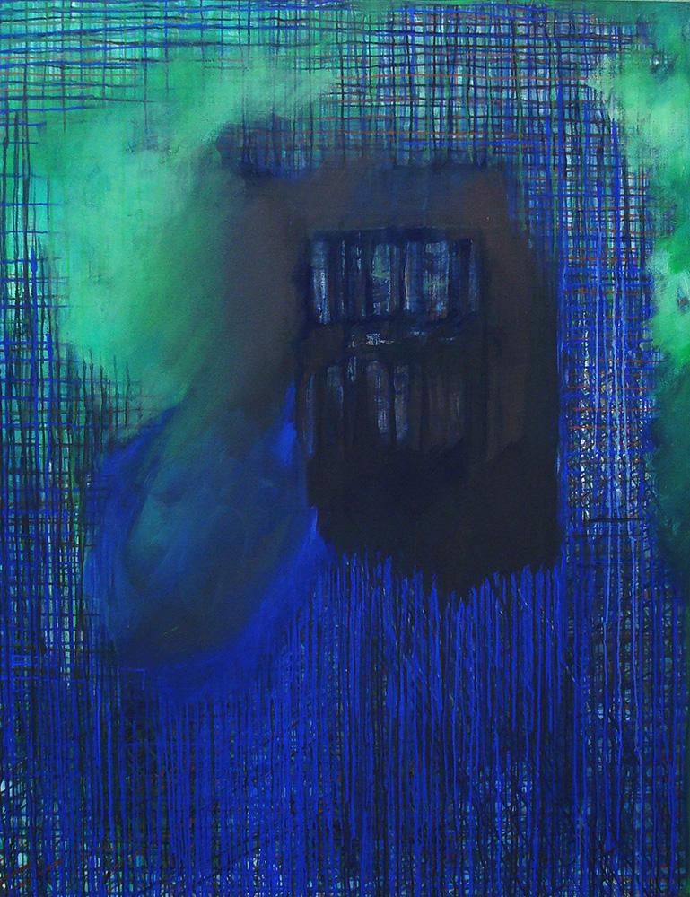 Bibliotrama, 2008 - acrílico e pigmento s/tela - 180 x 140cm