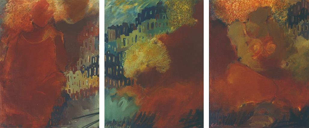 Tríptico da série O Tempo e o Vento, 1994 - acrílico s/tela - 150 x 390cm